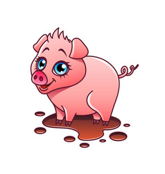 cartoon pig isolated vector image vector image