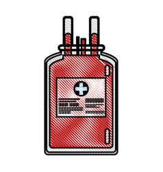 drawing plastic bag blood donate health care vector image vector image