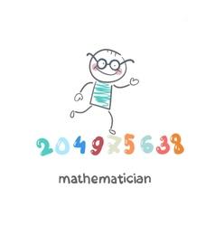 mathematician runs on figures vector image