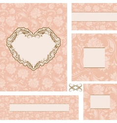ornate wedding frame set with heart frame vector image