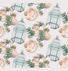 roses flowers and cage pattern background vector image