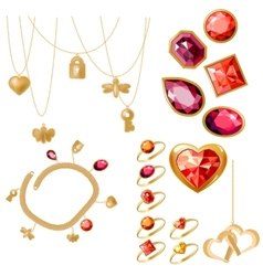 Set with rings gems and bracelet vector image vector image
