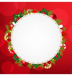 Speech Bubble With Christmas Icons And Red Bokeh vector image vector image