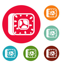 sushi icons circle set vector image
