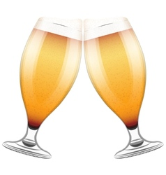 Two beer glasses clink vector image vector image