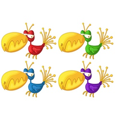 Four colorful birds vector image