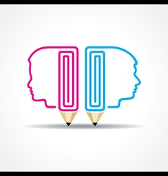 pencil with human head stock vector image vector image
