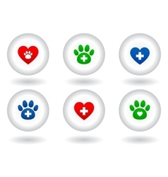 set of veterinary icons on white button vector image vector image