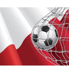Soccer goal and Poland flag vector image