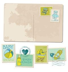 Vintage Baby Boy Arrival Postcard vector image vector image