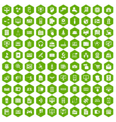 100 database icons hexagon green vector image