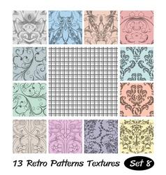 13 Retro Patterns Textures Set 8 vector