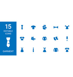 15 garment icons vector