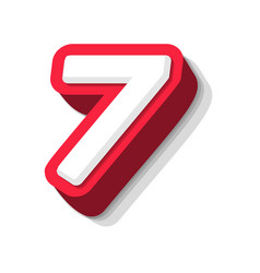 3d bold funny number 7 heavy type for modern vector