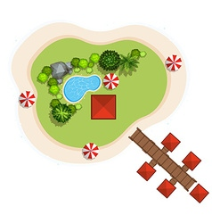 Aerial scene with swimming pool and bridge vector