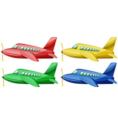 Airplanes in four different colors vector