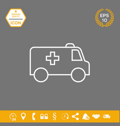 ambulance line icon graphic elements for your vector image