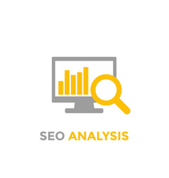 Analytics seo analysis icon on white vector