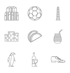 Attractions of argentina icons set outline style vector
