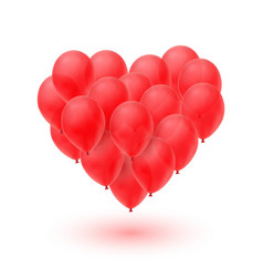ballons in form of heart isolated on white vector image
