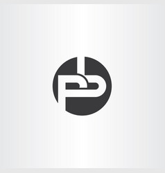 black letter p and b pb logo vector image