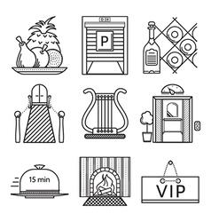 Black line icons for restaurant vector image