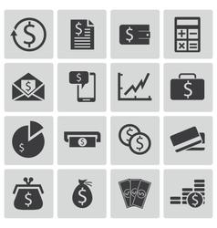 Black money icons set vector