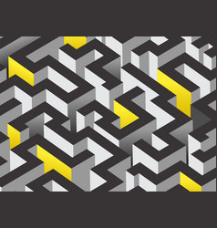 Black white and orange maze labyrinth endless vector
