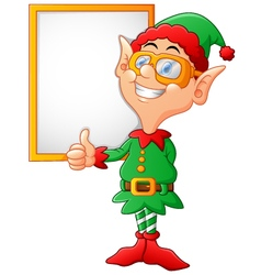 cartoon elf giving a thumbs up vector image