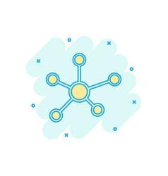 Cartoon social network molecule dna icon in comic vector