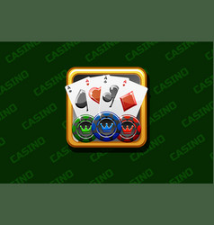 casino icon on green background for ui game vector image