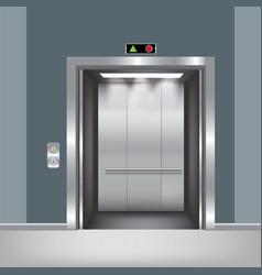 Chrome metal office building elevator doors vector
