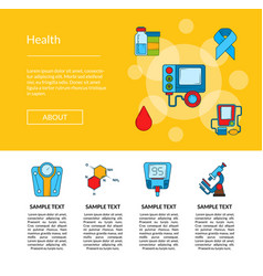 colored diabetes icons web page template vector image