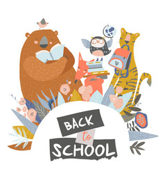 cute animals with school equipment back to school vector image