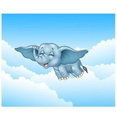 Cute baby elephant flying on cloud background vector image