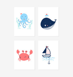 Cute posters with sweet underwater anima vector