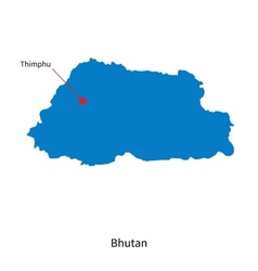 Detailed map of Bhutan and capital city Thimphu vector image