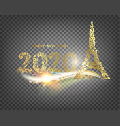 eiffel tower icon with golden confetti 2020 sign vector image