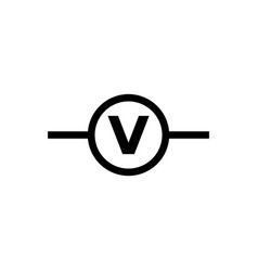 Electric circuit voltmeter flat icon vector