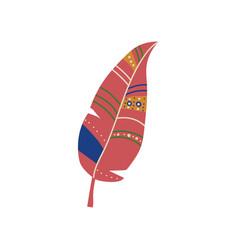 Feather boho style design element ethnic mystic vector