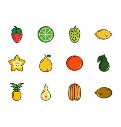 fresh nutrition harvest fruits icons set vector image