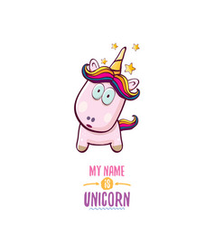 Funny cartoon cute pink fairy unicorn vector
