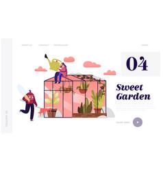 gardener characters working in winter garden vector image
