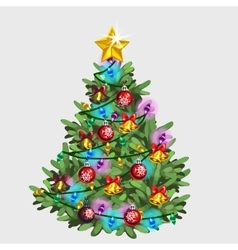Green Christmas tree with star ball and garland vector