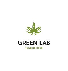Green marijuana science lab logo design vector