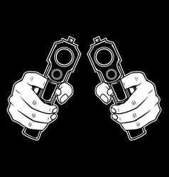 hand holding a gun hand drawing vector image