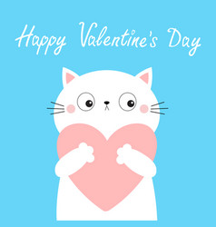 happy valentines day white cat kitten kitty head vector image