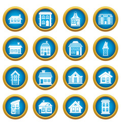 house icons blue circle set vector image