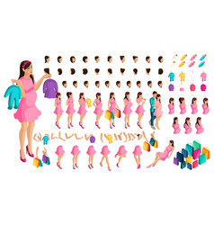 isometrics create your pregnant girl or mother vector image