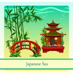Japanese sea with elements of Japanese culture vector